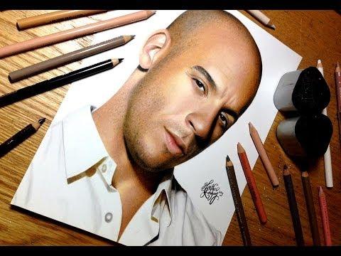 [色鉛筆画]ヴィン・ディーゼルが色鉛筆で描かれるとこうなる!